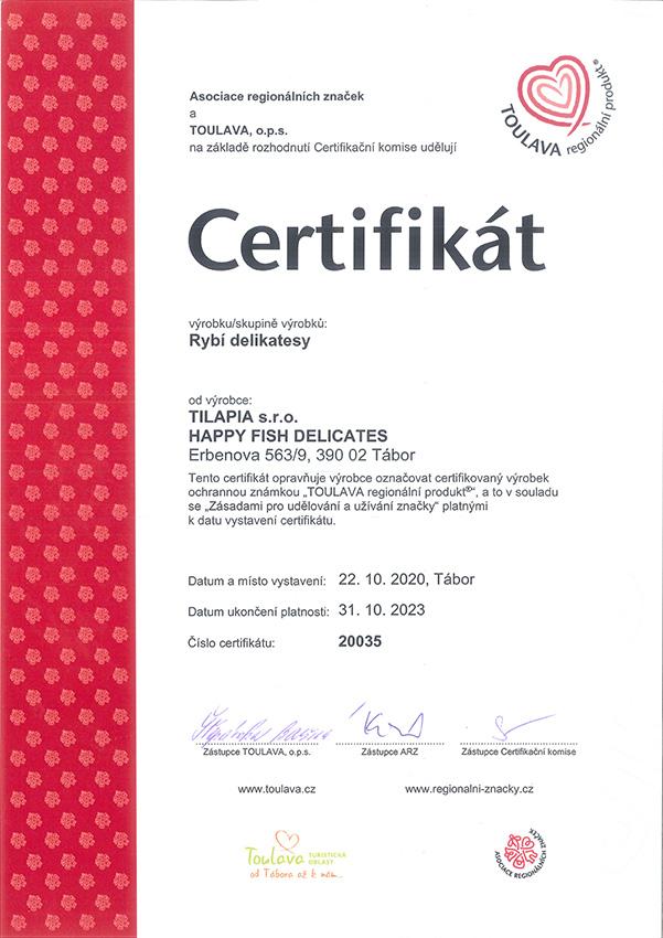 Certifikát Toulava Regionální produkt - Happy Fish Delicates